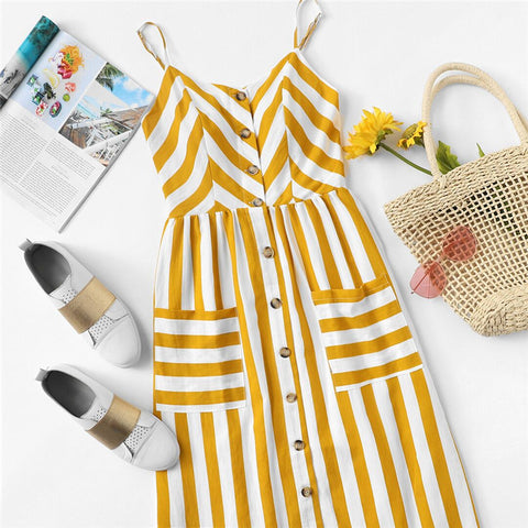 Striped Sun Mid-Calf Dress