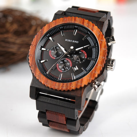 Men Wood Watch Dial in Quartz