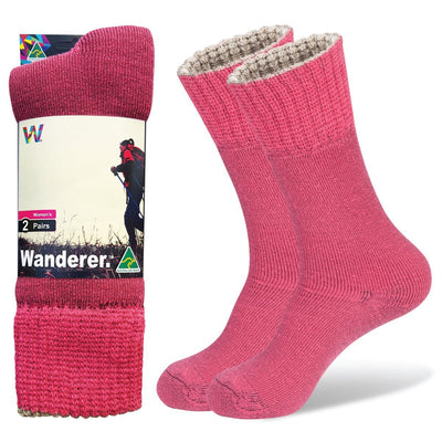 Wanderer Women's Hiking Wool Socks In Pink