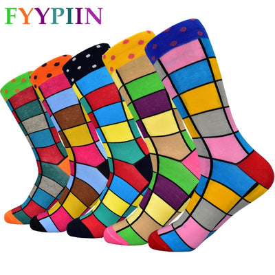 5 Pairs Colorful Squares Socks