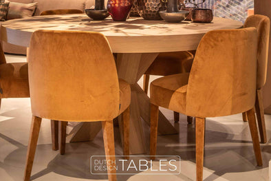 Tafel eiken Keijser en Co Big Top rond kruispoot Dutch Design Tables