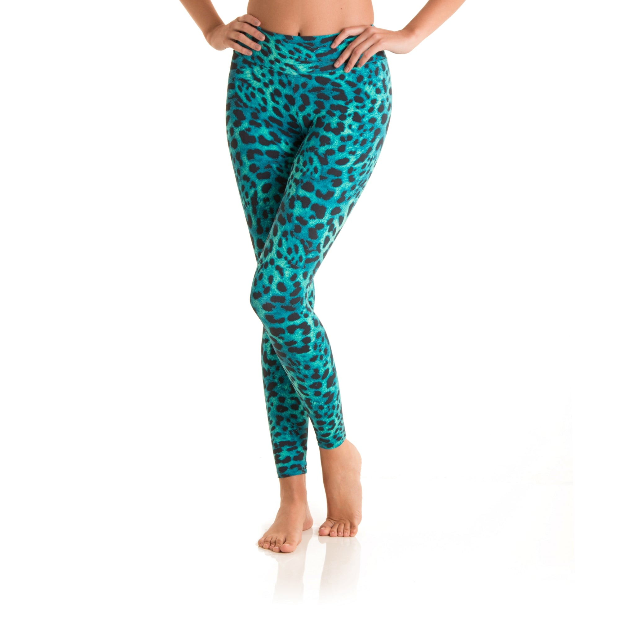 7/8 Eco Legging Green Cheetah /  Desenli Yoga Tayt