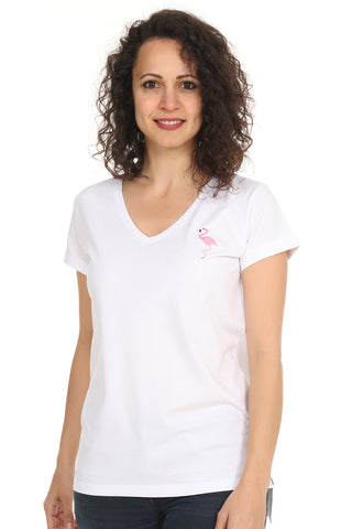 Night&Night® Organik Flamingo V Yaka T-Shirt-Beyaz