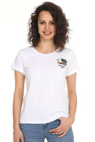 Night&Night® Organik Can't Touch This Bisiklet Yaka T-shirt-Beyaz