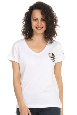 Night&Night® Organik Can't Touch This V Yaka T-shirt-Beyaz
