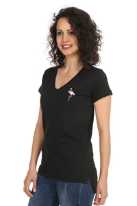 Night&Night® Organik Flamingo V Yaka T-Shirt-Siyah