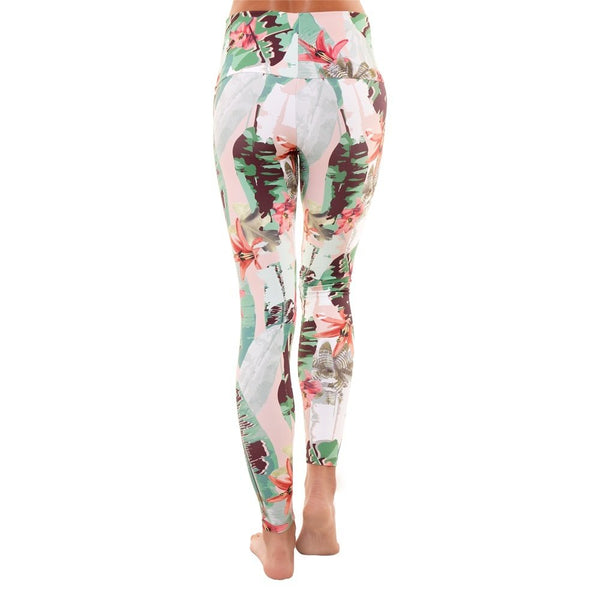 Liquido Active Wide Waistband Patterned Yoga Legging Bloom