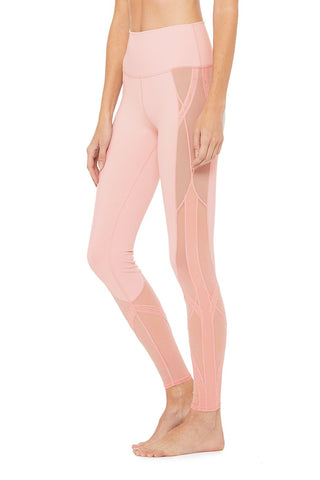 High Waist Mosaic Leggings - Pale Mauve