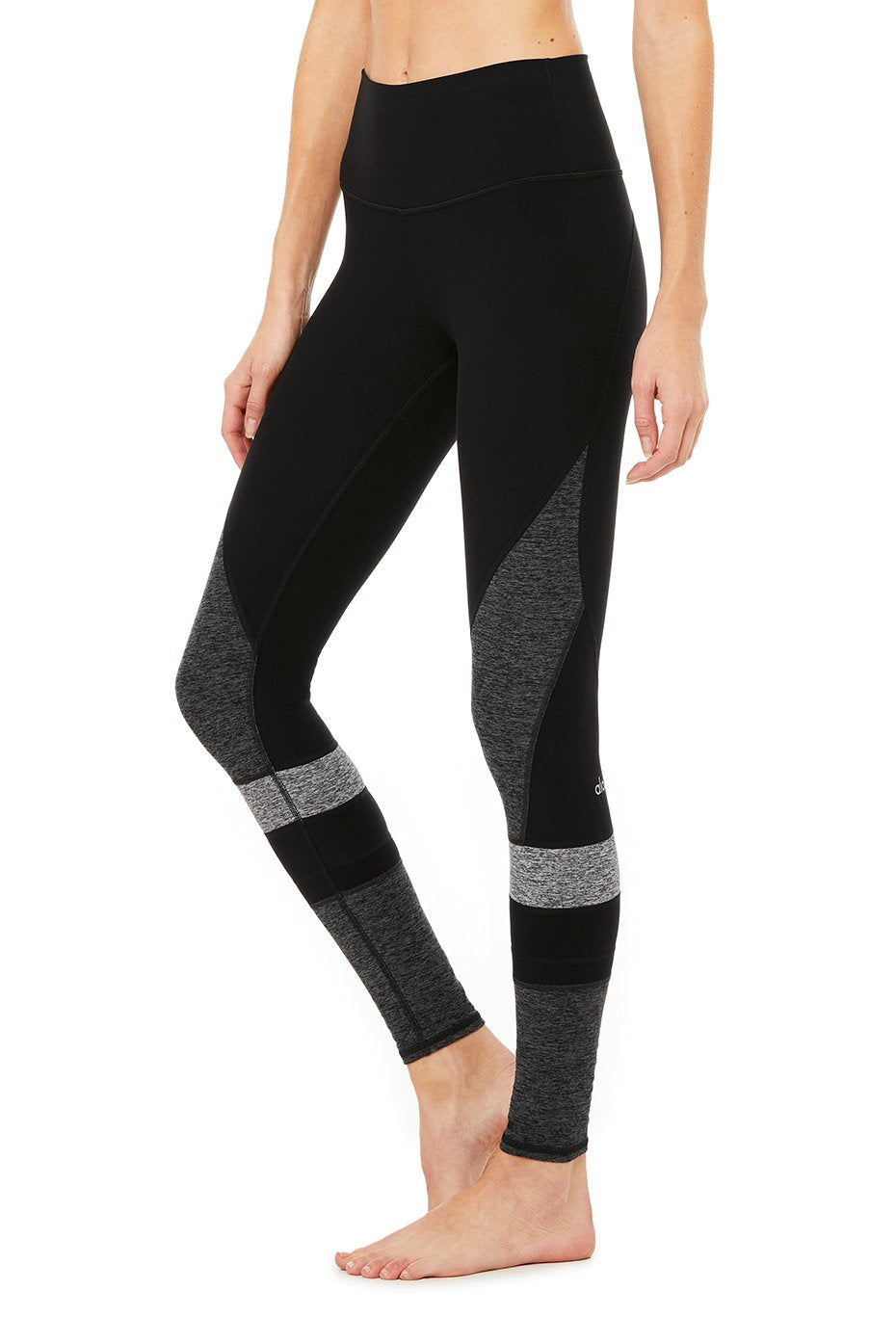 High Waist Alo soft Momentum Legging- Black/Grey