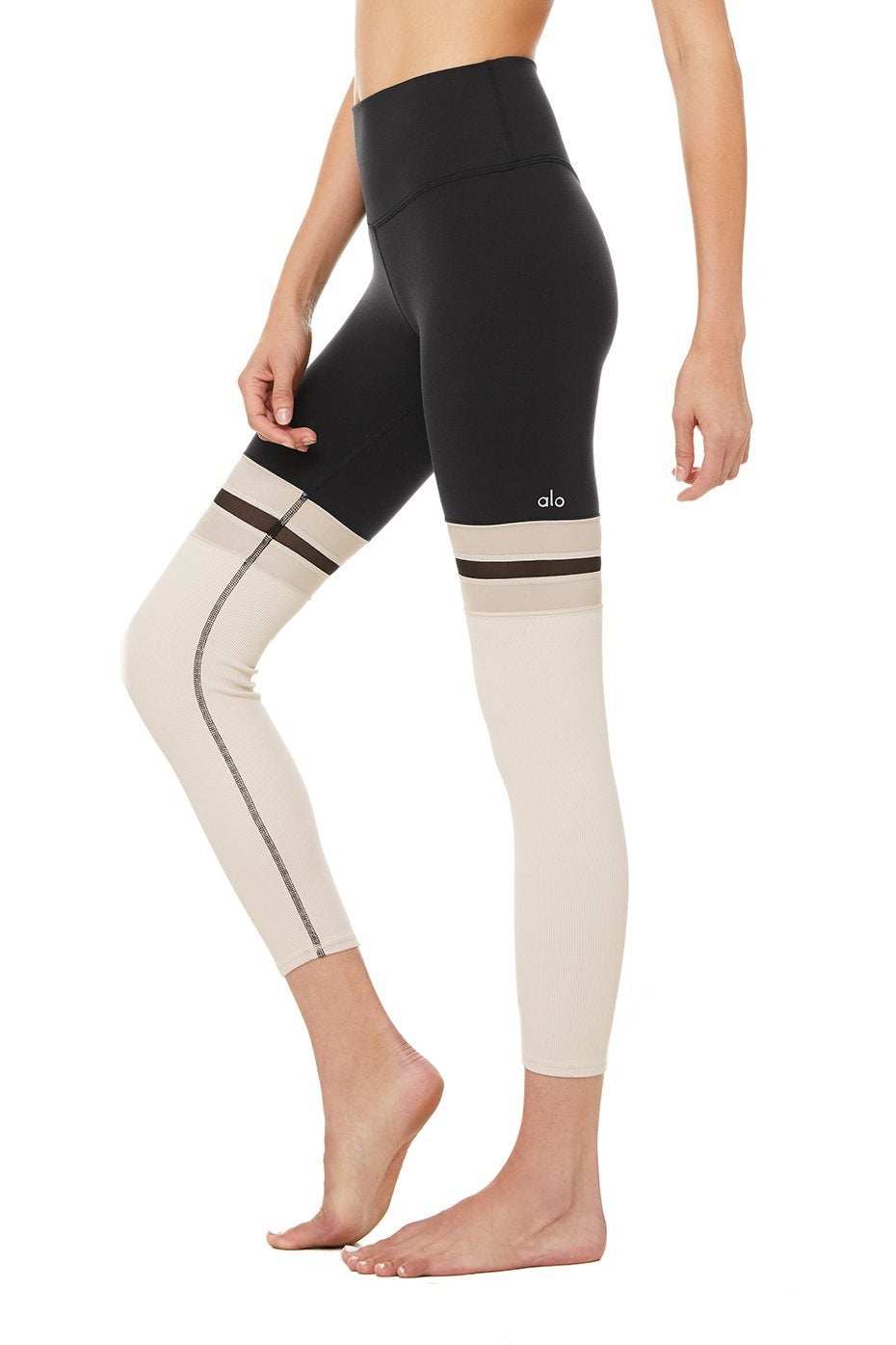 7/8 Player Leggings- Black / Bone