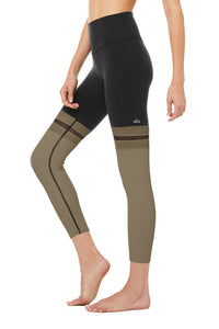 High Waist 7/8 Player Leggings- Black / Olive Branch