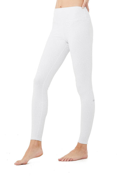 High Waist Vapor Leopard Leggings- White