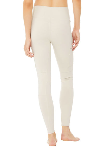 High Waist Cargo Leggings- Bone