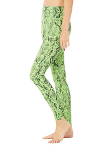 High Waist Snakeskin Vapor Leggings- Neon Lime