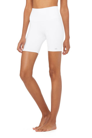 High Waisted Biker Short - White
