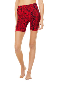 High Waist Snakeskin Vapor Short - Red