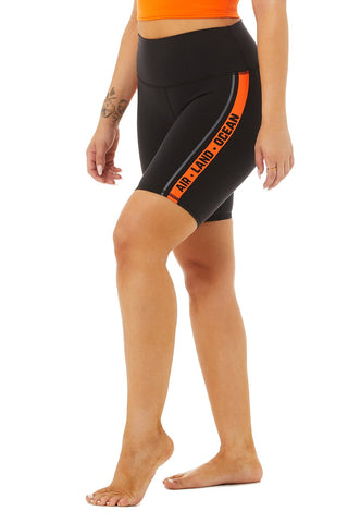 High Waist Spin Short - Tangerine - Black