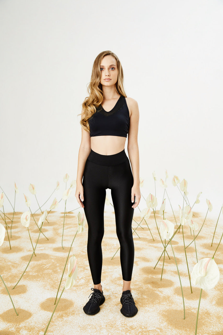 Bellis Activewear Shiny Lycra tayt | Black