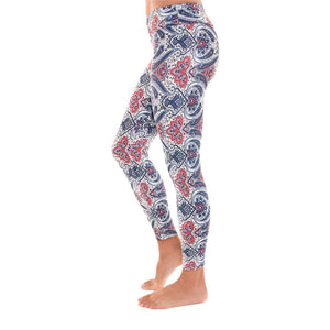 Liquido Active Patterned Yoga Legging Blue Kindness