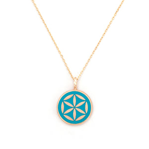 Mineli Kolye - Yaşam Çiçeği (Evrenin Sırrı)  Enamel Necklace - The Flower of Life (The Secret of the Universe)