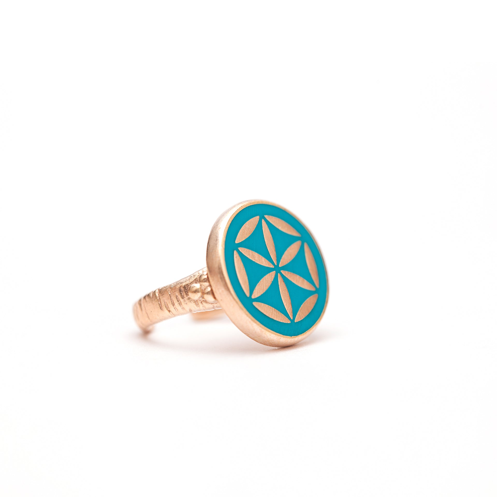Mineli Yüzük - Yaşam Çiçeği (Evrenin Sırrı)   Enamel Ring - The Flower of Life (The Secret of the Universe)