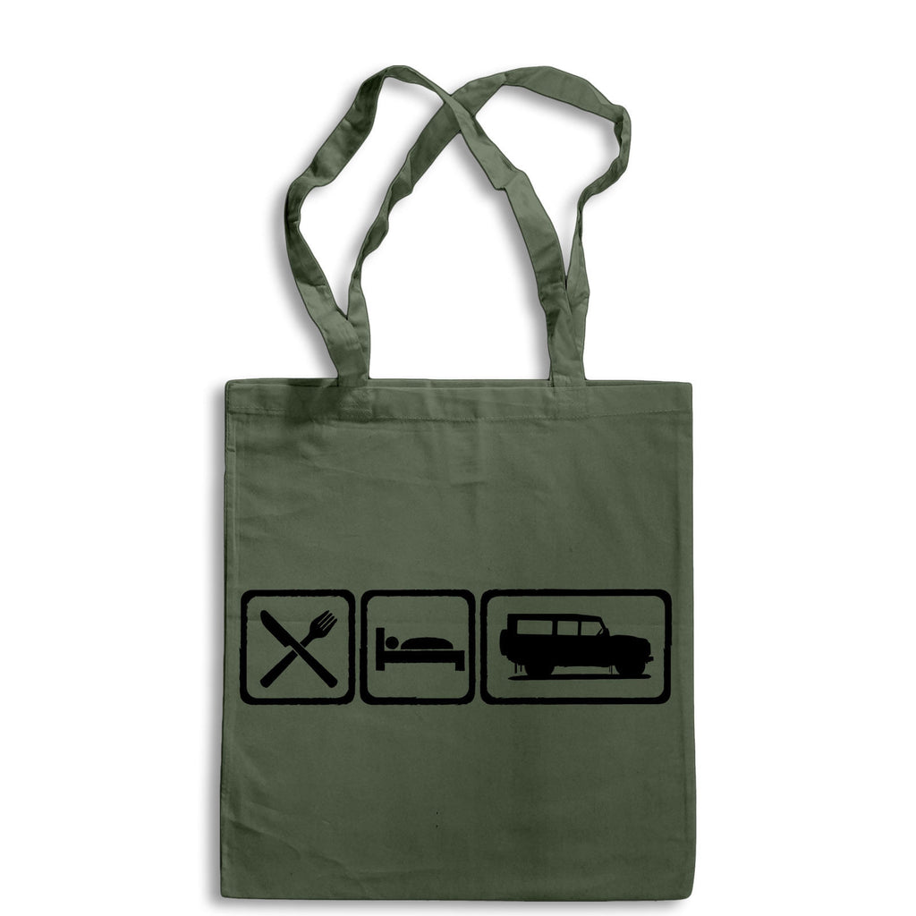 Eat Sleep Defender 110 Tote Bag for Life Cotton Shopping Retro Landrover 4X4 Mud
