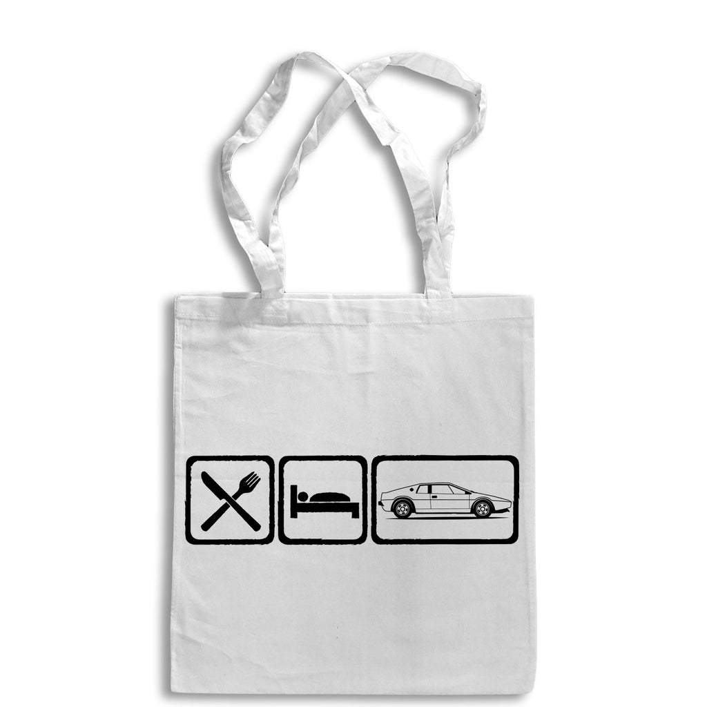 Eat Sleep LOTUS ESPRIT Tote Bag for Life Cotton Shopping Retro James Bond Sports