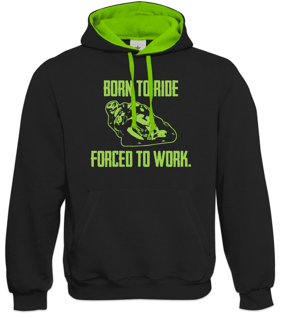 Born to Ride Forced to Work Hoodie Motorbike Biker Gift Racing TT