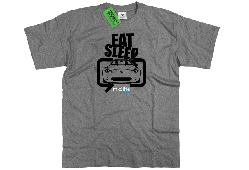 Motorholics Mx5life.com Eat Sleep Mk3 Mazda MX5 T Shirt - HEATHER