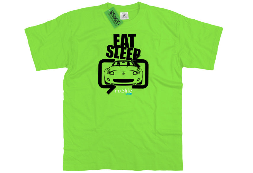Motorholics Mx5life.com Eat Sleep Mk3 Mazda MX5 T Shirt - LIME