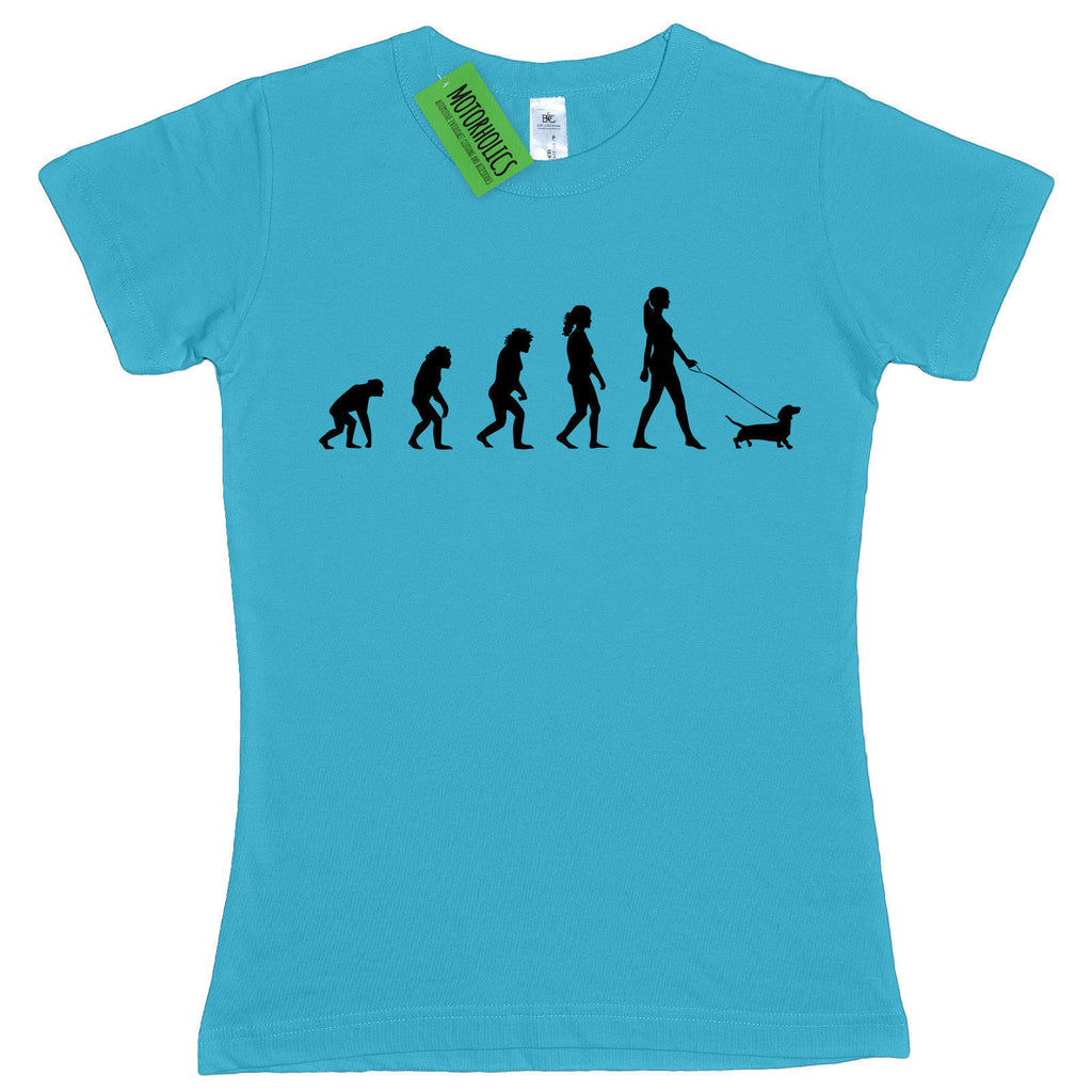 Ladies Evolution of Dachshund fitted T Shirt Sausage Dog