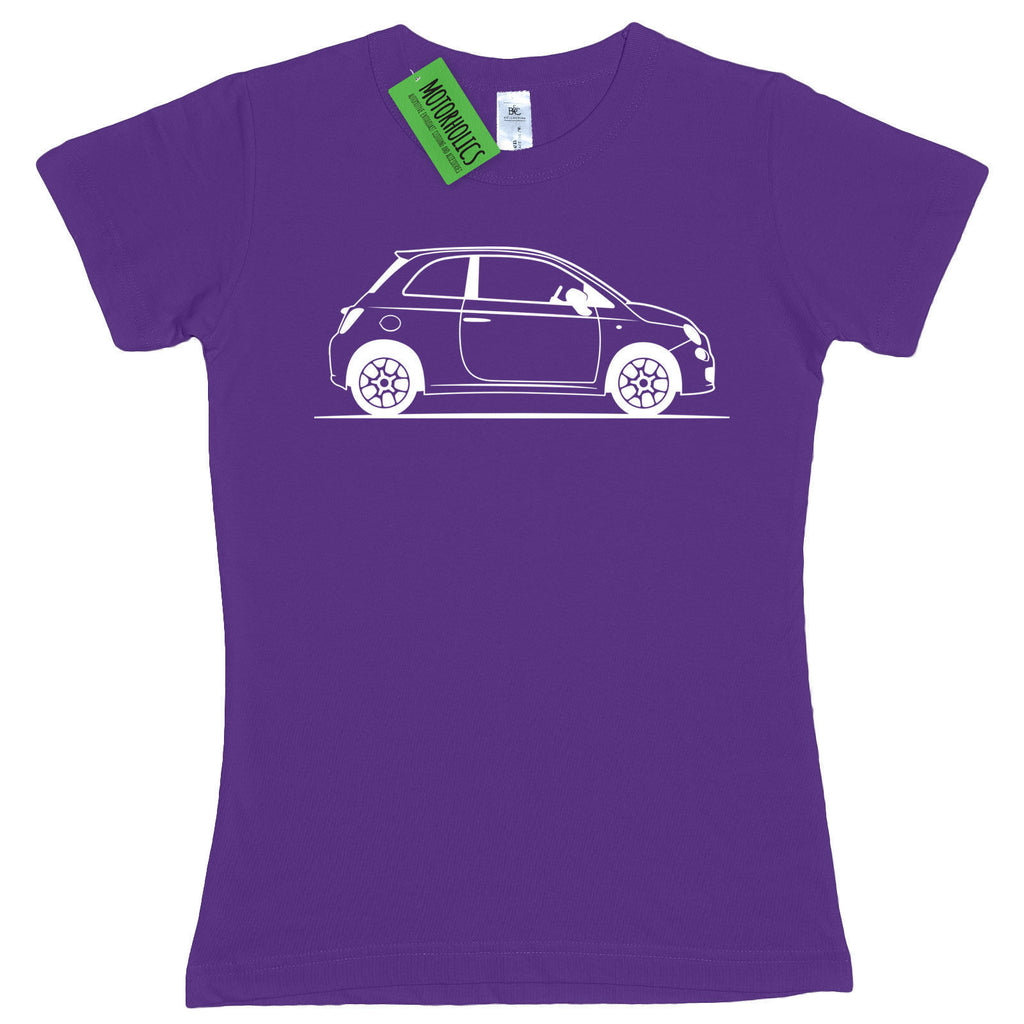 Ladies Original Sketch Fiat 500 fitted T Shirt RETRO CLASSIC ITALIAN CAR CHIC