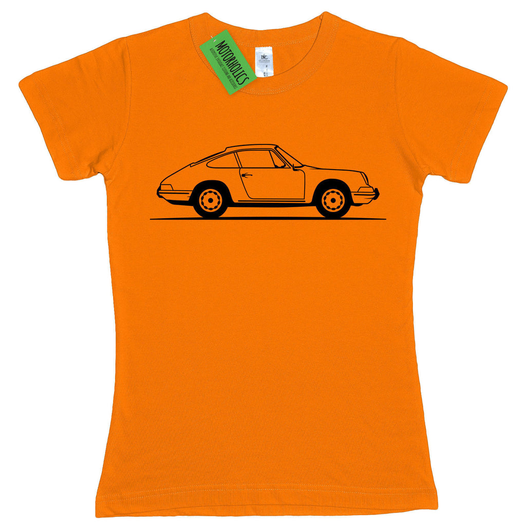 Ladies Original Sketch Porsche 911 Classic Sports Classic Retro fitted T Shirt