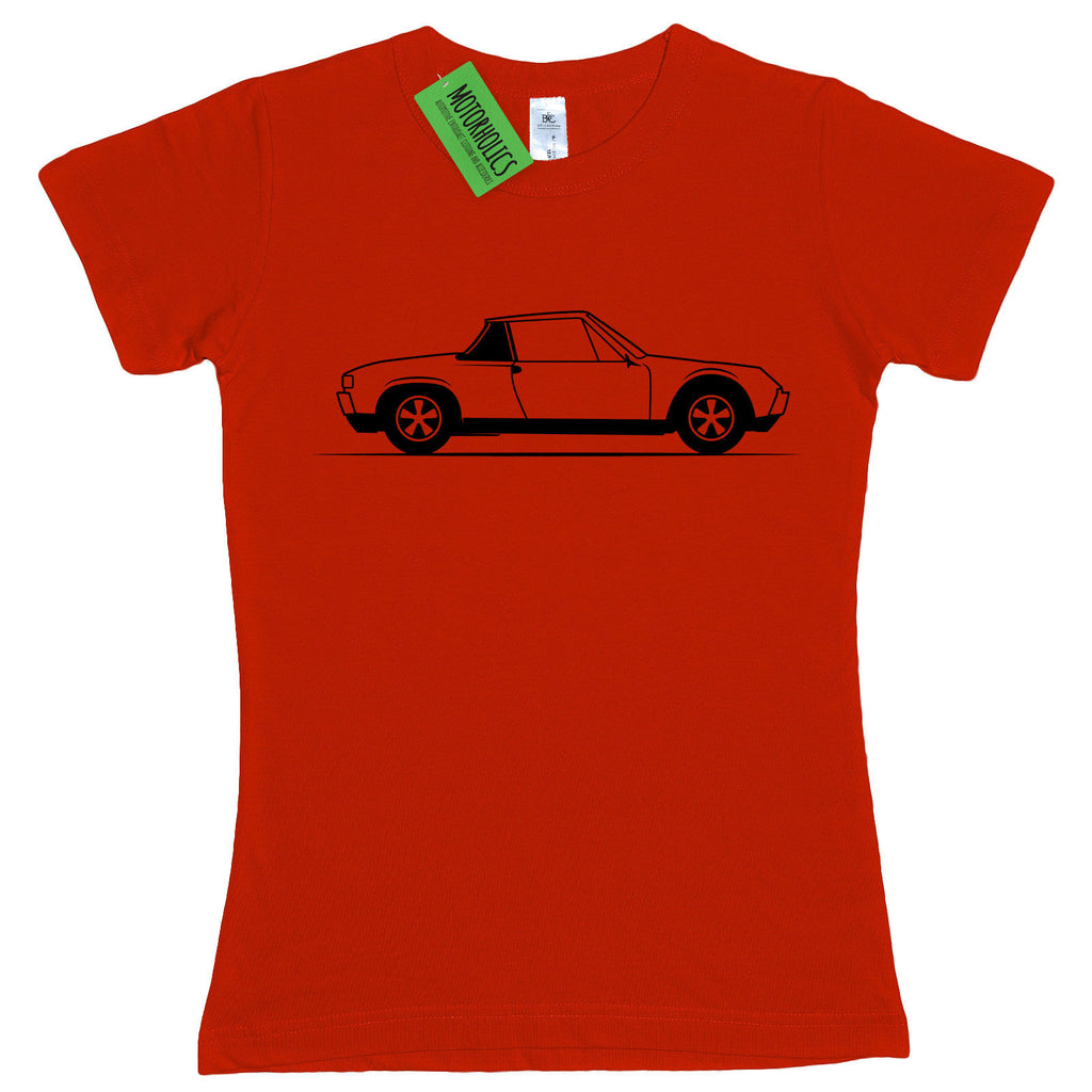 Ladies Original Sketch Porsche 914 Sports Car German Retro fitted T Shirt