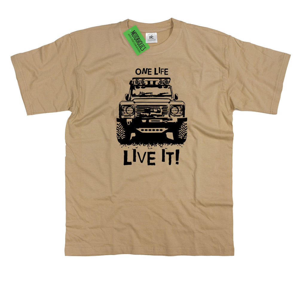 Landrover Defender One Life Live It Off Road Land Rover Mens T Shirt Sand Small