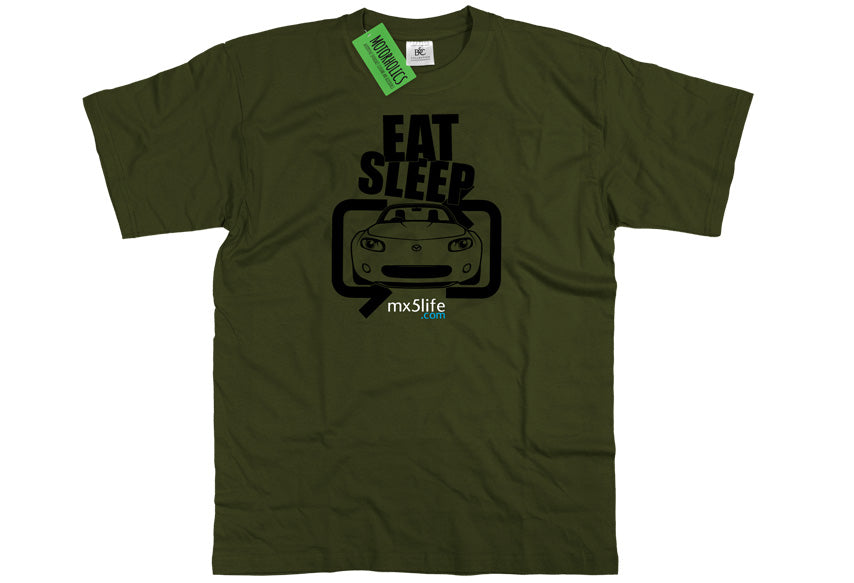 Motorholics Mx5life.com Eat Sleep Mk3 Mazda MX5 T Shirt - MILITARY