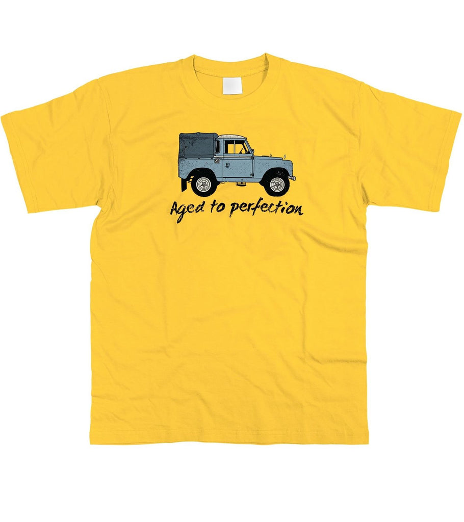 Mens Aged to Perfection Land Rover Fathers Day Birthday T-Shirt S - 5XL