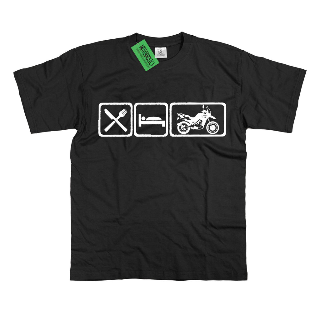 Mens Eat Sleep BMW F650 T Shirt F 650 GS F800GS DAKAR Adventure bike