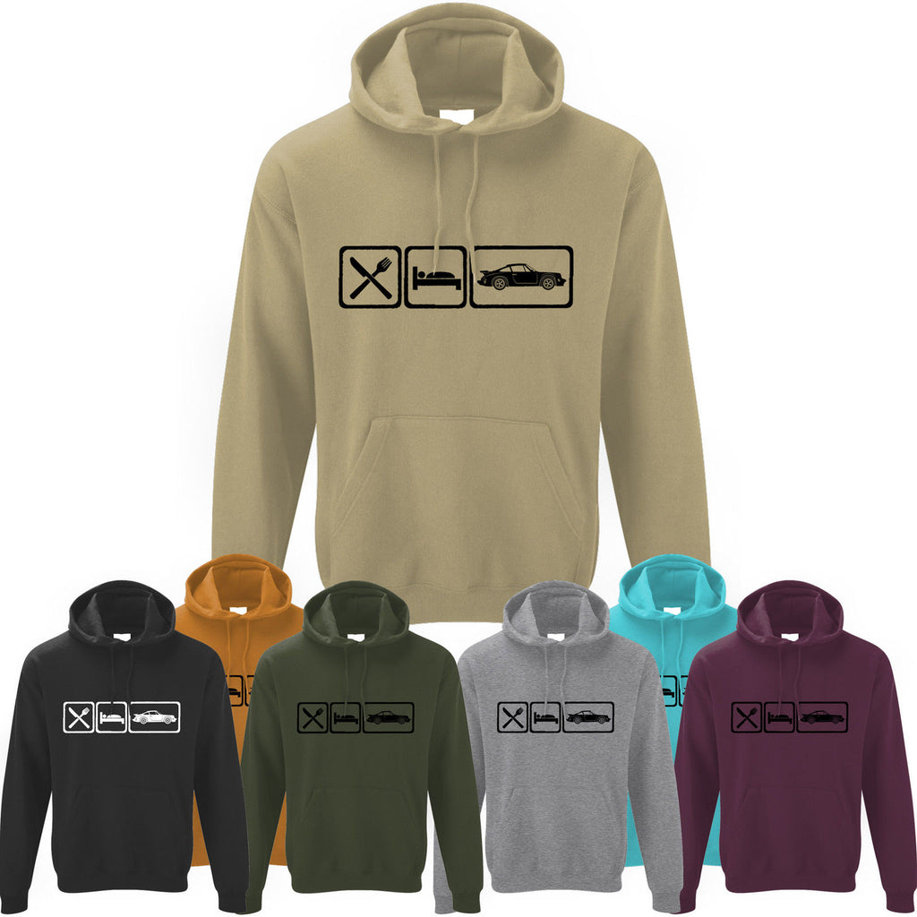 Mens Eat Sleep Porsche 911 Turbo Sports Car Hoodie Hoody
