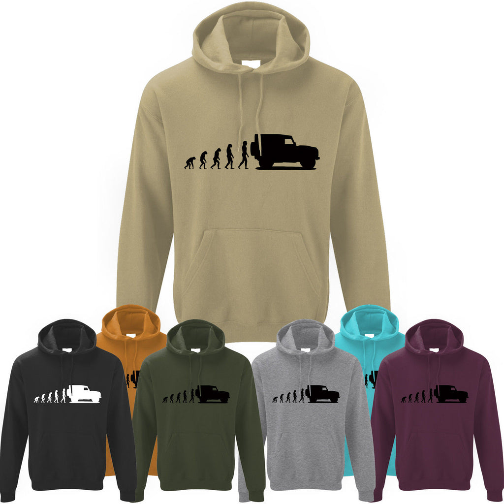 Mens Evolution of Ape to Land Rover Defender 90 Hoodie Hoody Off Road Landrover