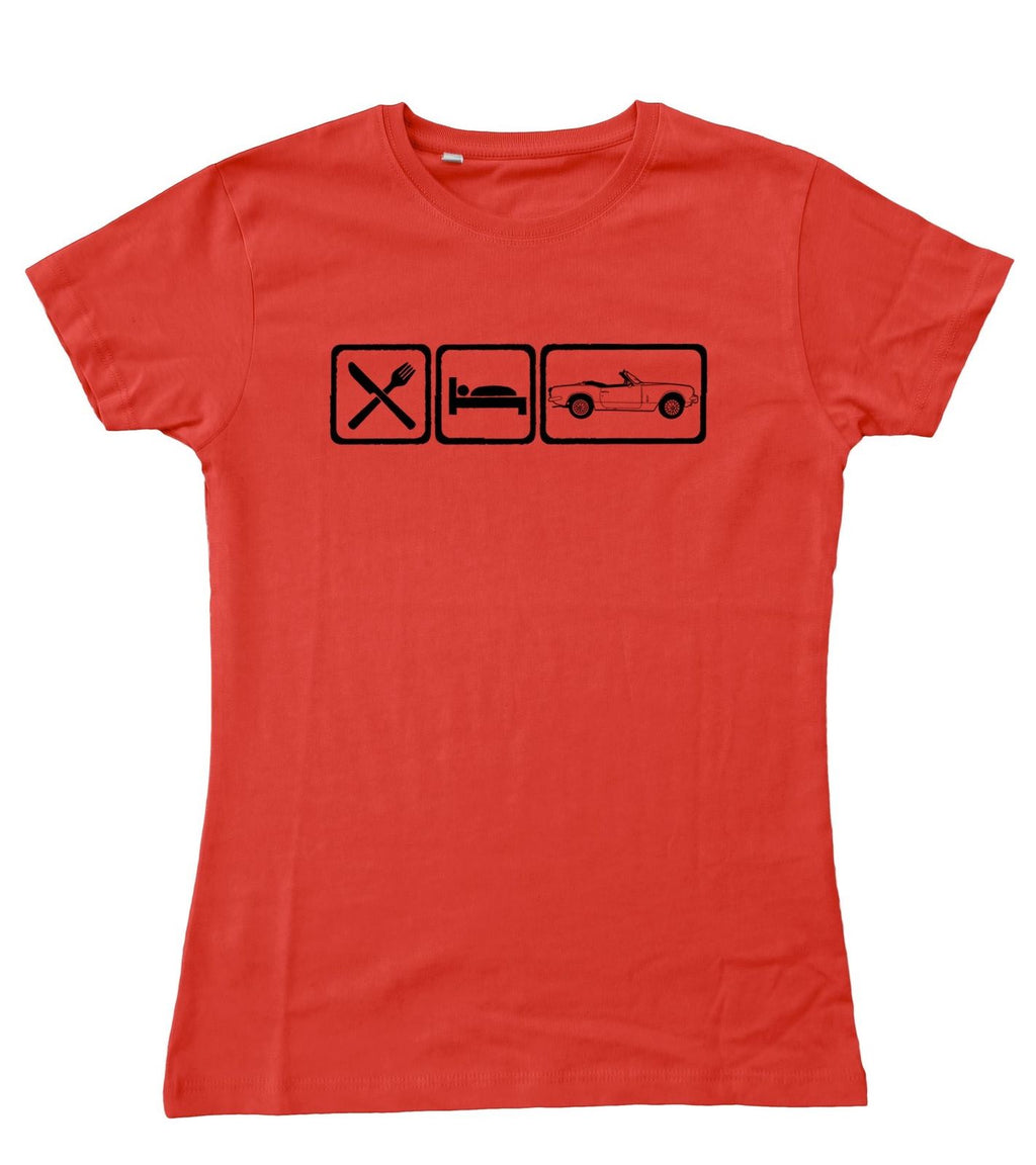 Motorholics Ladies EAT Triumph Spitfire Fitted T-Shirt S - 2XL / 10 - 18