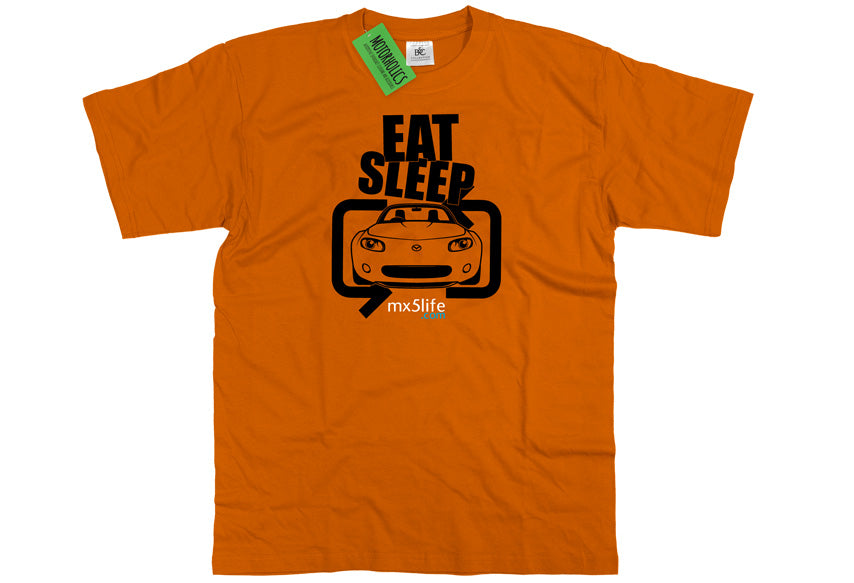 Motorholics Mx5life.com Eat Sleep Mk3 Mazda MX5 T Shirt - ORANGE