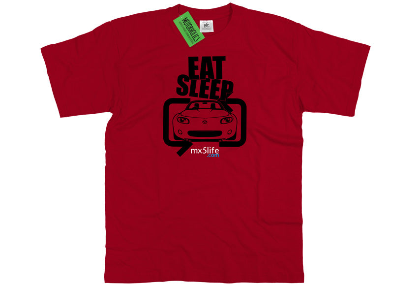 Motorholics Mx5life.com Eat Sleep Mk3 Mazda MX5 T Shirt - RED