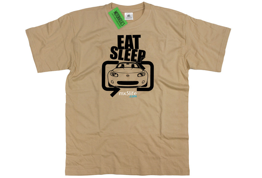 Motorholics Mx5life.com Eat Sleep Mk3 Mazda MX5 T Shirt - SAND