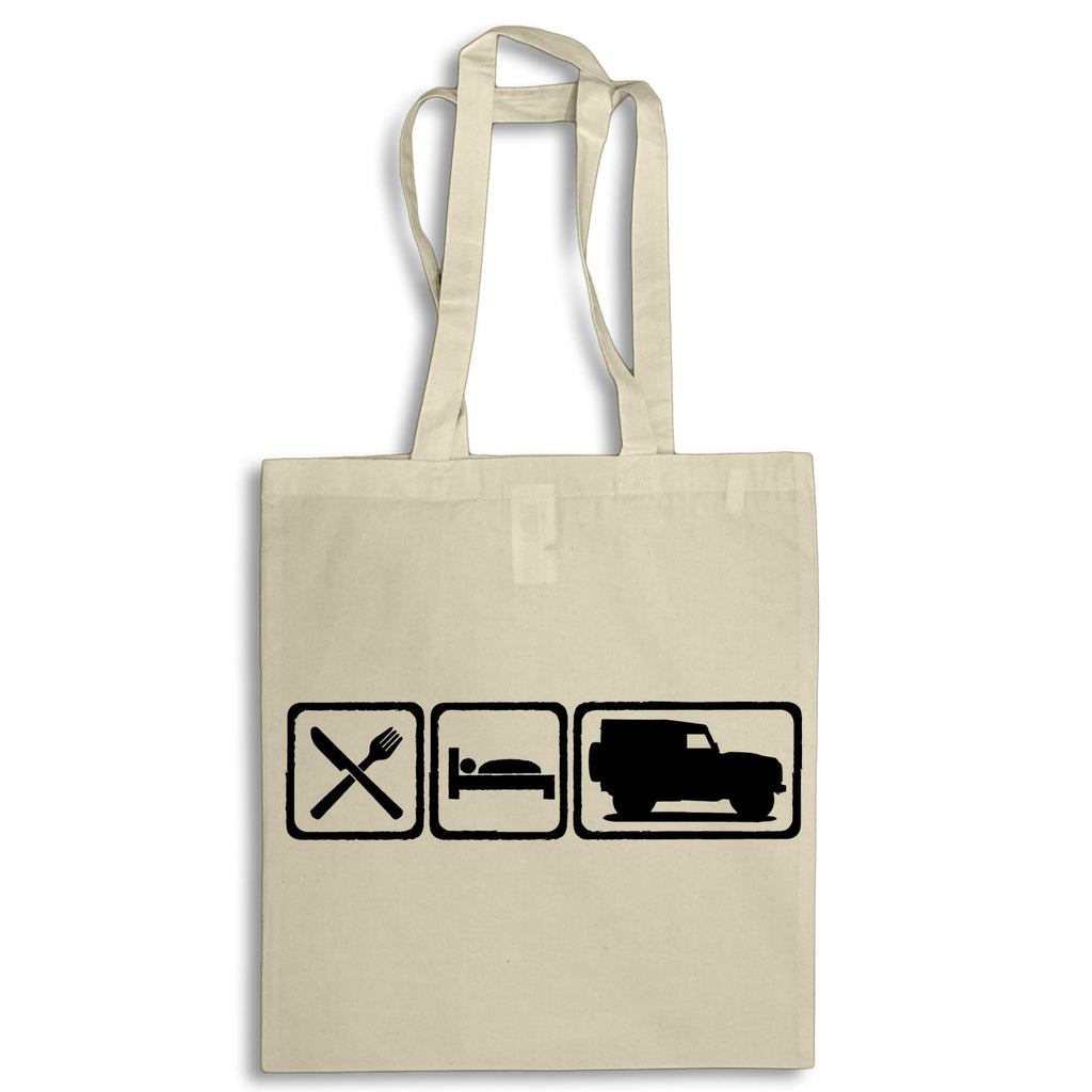 Eat Sleep Defender 90 Tote Bag for Life Cotton Shopping Retro Landrover 4x4 Mud