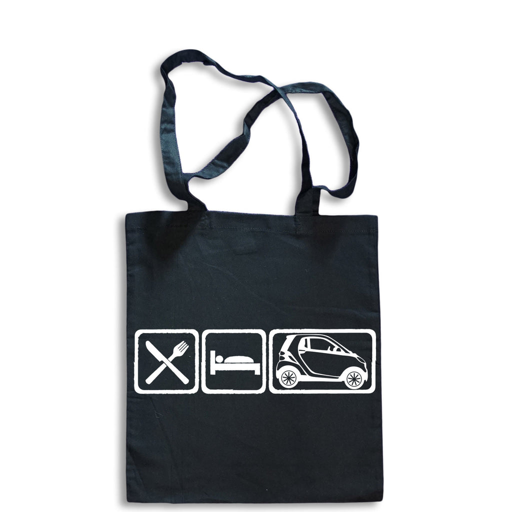 Eat Sleep SMART CAR Tote Bag for Life Cotton Shopping Mercedes Fortwo Daimler
