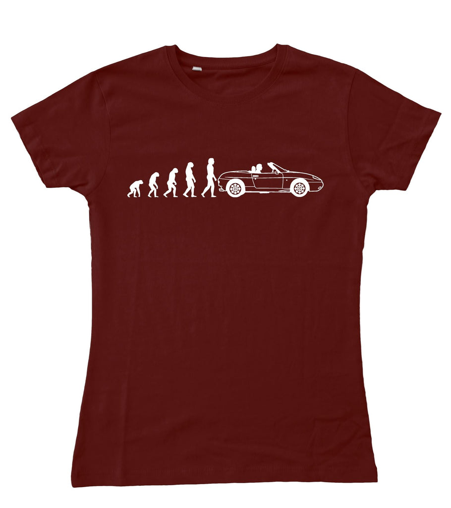 Ladies Evolution of Man to Fiat Barchetta Fitted T-Shirt S - 2XL / 10 - 18