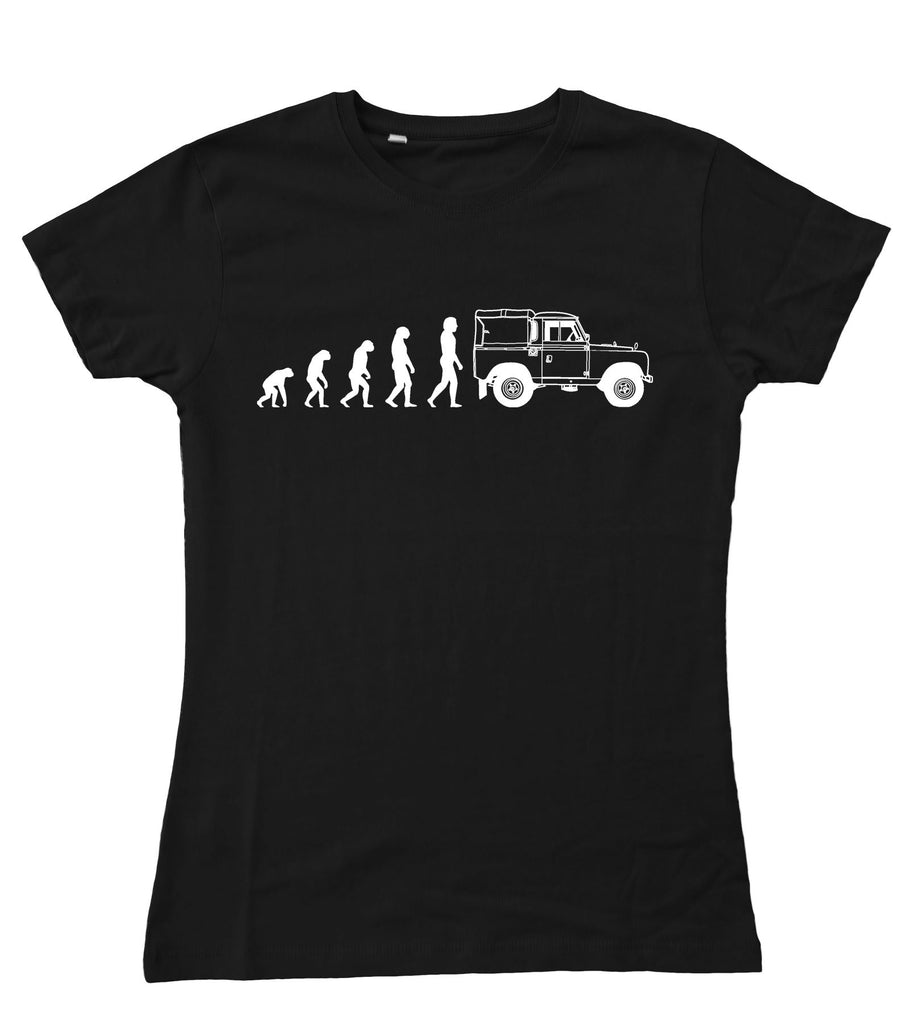 Ladies Evolution of Man to Land Rover Series 2 / II Fitted T-Shirt S - 2XL