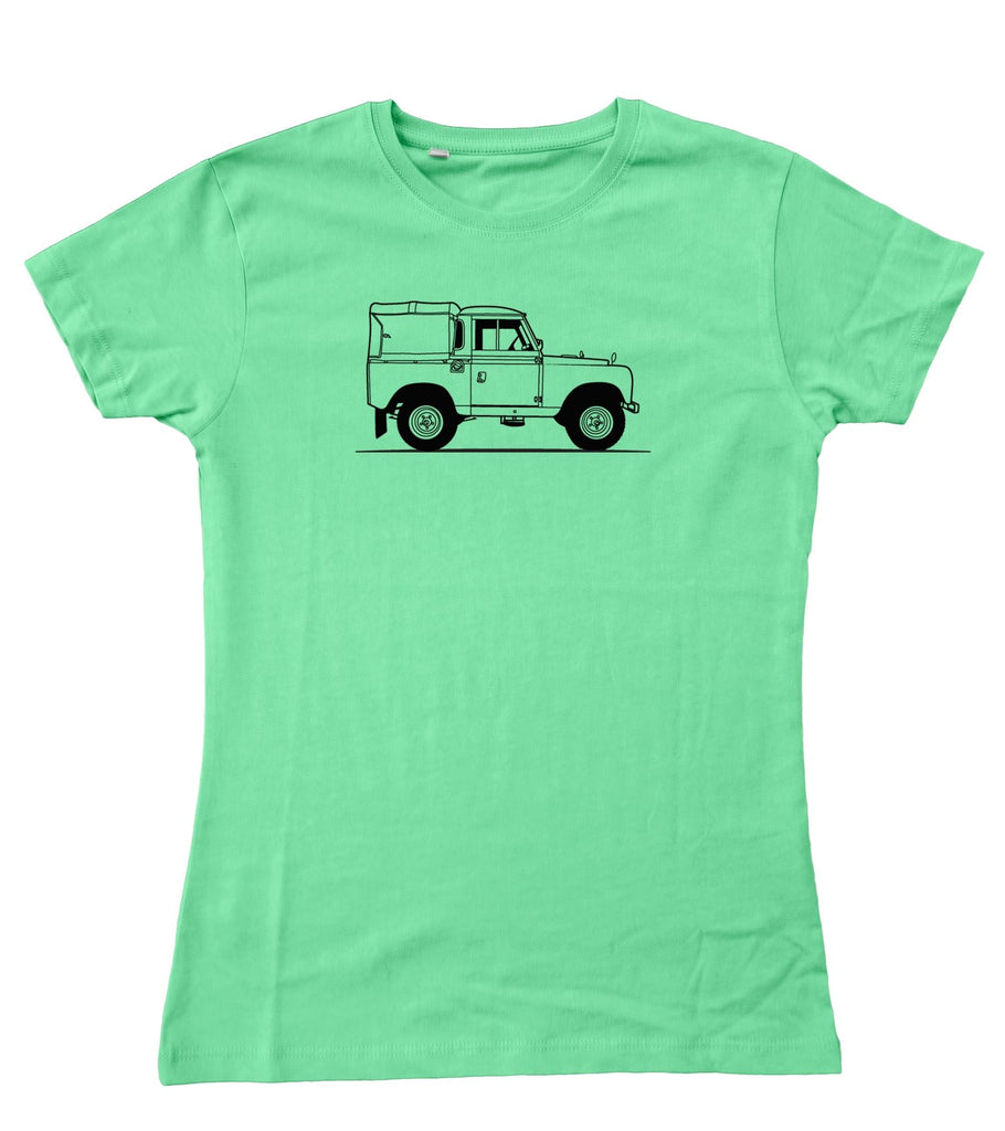 Ladies Original Sketch Land Rover Series 2 / II Fitted T-Shirt S - 2XL / 10 - 18