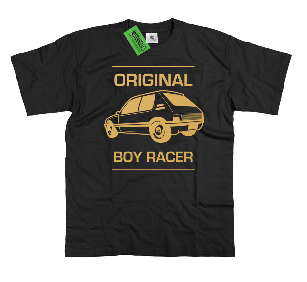 Mens ' Original Boy Racer ' Peugeot 205 GTi T Shirt Classic Pug Retro Rally Car